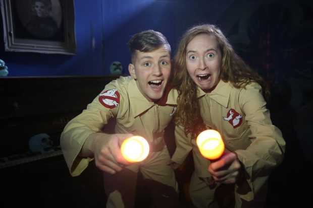 Tayto Park, Irelands favourite theme park and zoo located in Ashbourne, Co. Meath, is excited to announce their brand new children's attractions for Halloween - Ghost Hunters. Pictured as they get ready to try out the new attractions are (l to r) Dillon Murray and Clare Martyn from Tayto Park. Parents and children can immerse themselves in Ghost Hunters, an interactive children's adventure where guests will become ghost hunters and enter an old abandoned manor to discover the strange happenings inside. Children can also enjoy free face-painting, the zoo and other attractions around the park before taking part in Halloween arts & crafts. For more information and to book tickets please visit http://www.taytopark.ie/events
